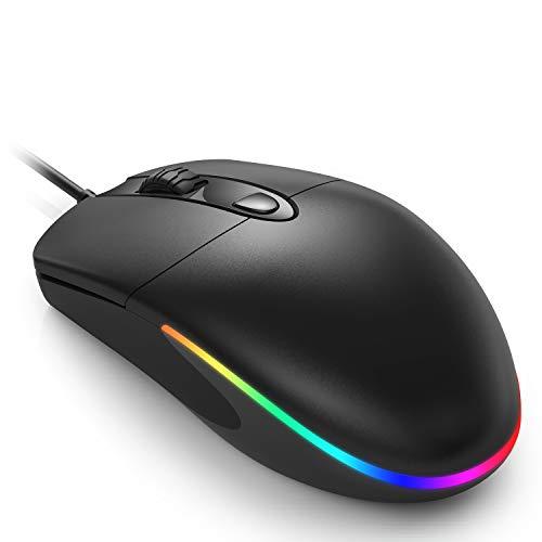 Jelly Comb Beleuchtete Maus mit Kabel, Kabelgebundene leise Gaming Maus mit RGB Beleuchtung, 4 Tasten, 1600 DPI Optische Maus für Computer, Laptop, Mac(Schwarz)