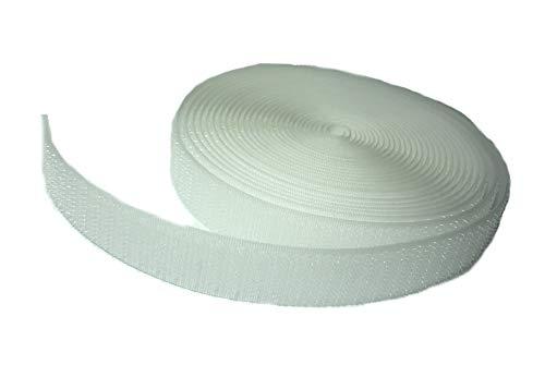 FrogJim 5m Hakenband Klettband zum Nähen, weiß, 20mm breit, 5m Rolle Haken KRNWH5 (nicht selbstklebend/nähen, Hakenband weiß)