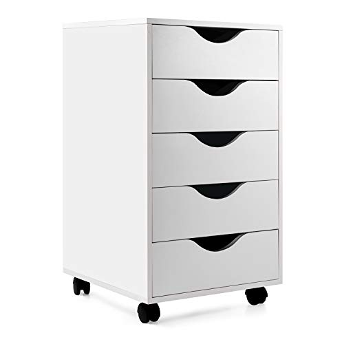 """EDGEWOOD Mobile Filing Storage File Vertical Wood Cabinet with Wheel Lockable Casters, 5-Drawer, 24""""H"""