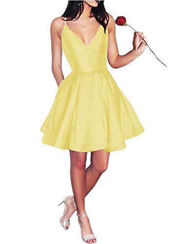 abito donna giallo APXPF Spaghetti cinghie raso corto A-line abito di sfera Abiti ritorno a casa con tasche - giallo - 54