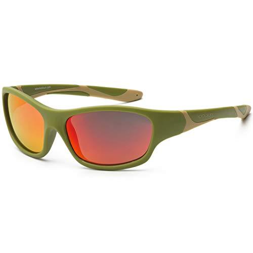 Koolsun Lunettes de soleil SPORT Enfant 6–10 ans | Army Green & Taos Taupe | Orange Revo Lentilles – Protection UV 100% – Optical Clas 1, Cat. 3