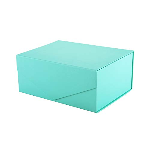 PACKHOME Gift Box 9.5x7x4 Inches, Bridesmaid Box, Rectangle Collapsible Box with Magnetic Lid for Gift Packaging (Matte Turquoise, Grid Pattern)