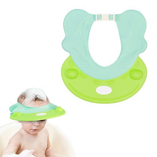 ZoomSky Protezione per Doccia Baby Protezione per Lo Shampoo Protezione per Il Bagno Cappello per Visiera Regolabile per Bambini Lavaggio per Capelli (Verde)