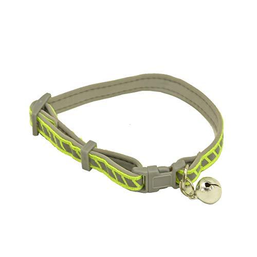 MOUISITON Katzenhalsband mit Schleife und Glöckchen, Sicherheitshalsband mit elastischem Gurt, Katzenhalsband für Katzen in 4 Farben, klassische Streifen-Farbkollektion, Small, Grün-8