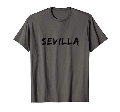 Sevilla Negro Vintage Font Hombres Y Mujeres Camiseta
