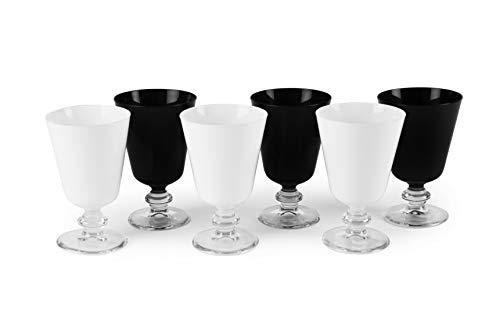 Excelsa Noble Wine Lot de 6 verres à pied 280 ml, verre, blanc et noir