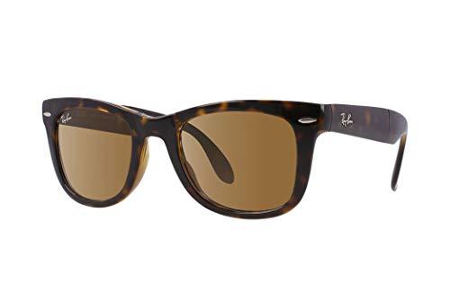 Ray-Ban RB4105 - Gafas de sol unisex plegables Wayfarer (marco de la Habana clara/lente de cristal marrón 710, 54)