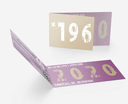 Runder Geburtstag Einladungskarten 60 Jahre Geburtstagseinladungen - Zeitsprung Einladung für runden Geburtstag 60er Feier Lila-Beige (15)