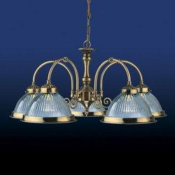 Kronleuchter 5-armig im American Diner-Stil, Messing-Antik-Optik, transparentes geriffeltes Glas, für 5 x 60-Watt-Lampen BC