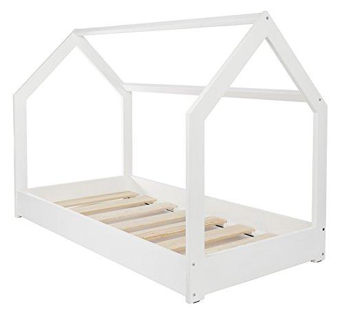 Velinda Cama Infantil en Forma de casa Dosel para ninos 190x90cm (Color: Blanco)