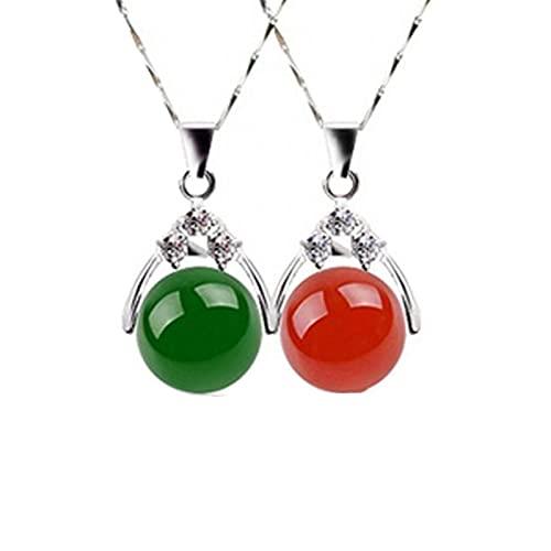 ZhaoZZ Collares Mujer Joven, Cornalina Colgante, Transfiera La Perla De Chalzedon, Colgante De Ágata Roja Y Verde Y Jade, Colgante De Jade, Collar De Pareja, Un Solo Remolque