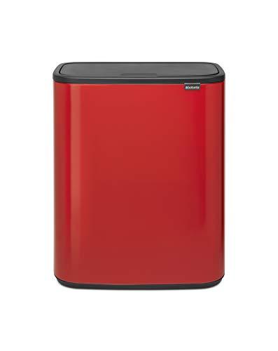 Brabantia Bo Touch Bin Cubo de basura 60 L, color rojo