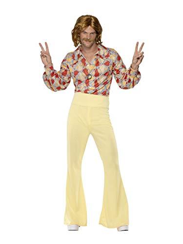 Smiffys-39436M Disfraz de Chico estupendo de los 60, con Camisa y Pantalones Campana de Cintura Alta, Color Estampado, M-Tamaño 38'-40' (Smiffy'S 39436M)