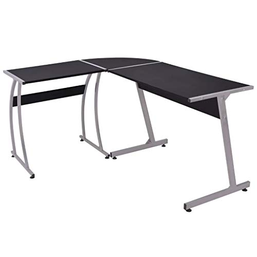 Tuduo Eckschreibtisch in schwarz elegant, bequem und einfach Schreibtisch Modern Schreibtisch Büro