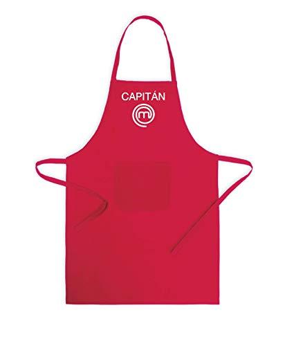 clasificación y comparación Delantal de Capitán Chef Maestro bordado.  Con delantal de cocina de poliéster y algodón rojo o azul para hombre … para casa