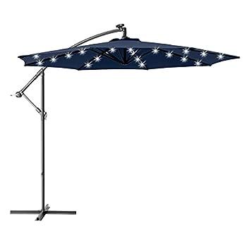 Ralawen 10 Ft Solar Patio Umbrella Offset Cantilever Umbrella LED Lighted Hanging Market Umbrella with Crank & Cross Base(Navy)