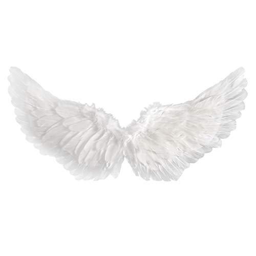 Petalum Mädchen Kinder Weiß Engel Kostüm, Engelsflügel Feen Federflügel, Heiligenschein mit Haarreif, Herz Zauberstab, Rock