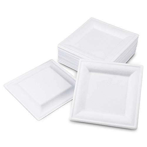 [100 Pack] Square 6' x 6' Biodegradable Bagasse Plates in – White Eco Friendly Microwave Safe Sugarcane Compostable 100% Natural and Plastic Free Plate