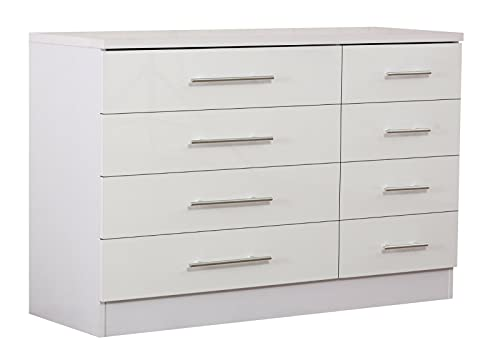 Harmin White High Gloss 8 Drawer Sideboard/Cupboard/Buffet Solo/Chest