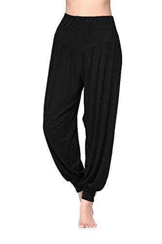 BeautyWill Freizeithosen Weiche Modal Haremshose Jogginghose Yoga Pilates Hosen Lang und 3/4 Hose für Damen XXL Schwarz Lange
