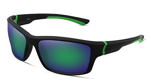 FHNLKFS Gafas de sol deportivas para hombre, gafas de montar al aire libre, gafas de sol para parabrisas verde marco verde