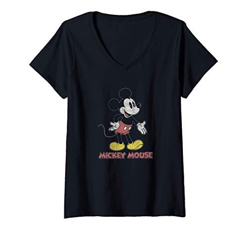 Mujer Disney Mickey Transparent Standing Body Camiseta Cuello V