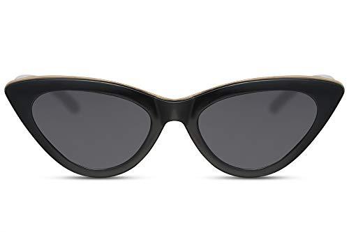 Cheapass Gafas de Sol Exclusivas Diseño Ojo de Gato Moderno con Montura de Barra Dorada Pequeña Negra y Lentes Oscuras UV400 Mujer