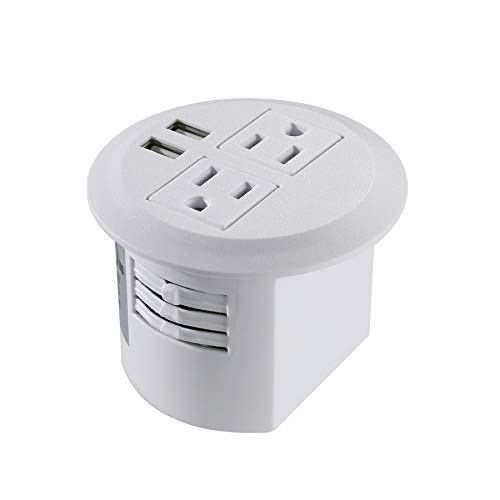 Power Grommet, Desktop Power Outlet 2 US Plugs & 2 USB Ports for Computer, Desk/Table, Kitchen, Office,Home,Hotel and More (White)