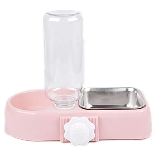 Cage Dual Bowl, Crate Hang Bowl, Dog Bowl with Water Bottle,Removable Stainless Steel Water Food Feeder Bowls, Cage Double Bowl for Cat Dog Bird Rabbit, Food Water Bowl 2 in 1 Design, Pink