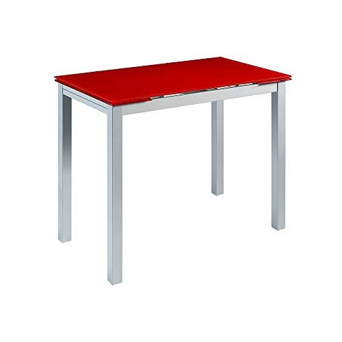 MOMMA HOME Mesa de Cocina Extensible - Modelo CALCUTA - Color Rojo/Plata - Material Vidrio Templado/Metal- Medidas 100/140 x 60 x 76 cm