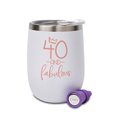 40th Birthday Tumbler – 40th Birthday Gifts for Women – 40 Bday Gifts for Women – 40 and Fabulous Gifts for Women – 40th birthday decorations for women - Forty and Fabulous - Includes Wine Stopper
