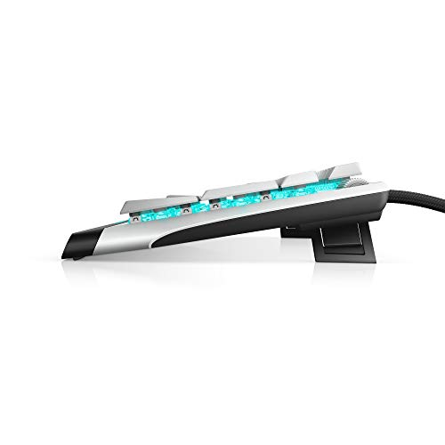 New Alienware Low-Profile RGB Gaming Keyboard AW510K Light, Alienfx Per Key RGB Lighting, Media Controls and USB Passthrough, Cherry MX Low Profile Red Switches, Lunar Light