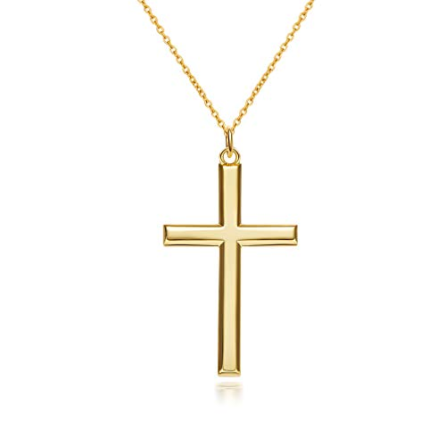 GDDX Sterling Silver Mens Gold Chains Cross Necklace Pendant For Men Jewellery 24'Chain (Golden)