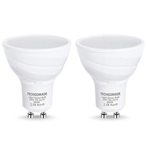 2 X Lampadine LED GU10 Techgomade dal tramonto all' alba, sensore di luce lampadine, 5 W, equivalente a una lampadina alogena da 40 W, 380 lumen, angolo di vista giorno, 6000K