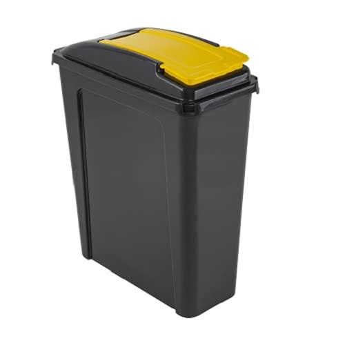25L Slimline Recycle Kitchen Waste Bin 25 Litre Plastic Storage Bin With Yellow Lid By HotDeals-UK