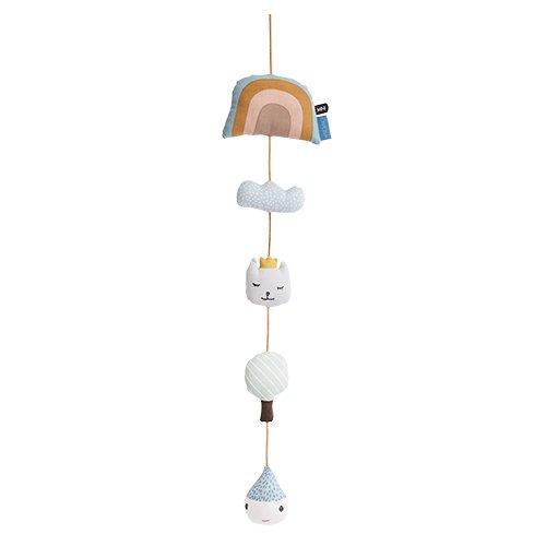 Oyoy Mini Baby Mobile Rainbow Niedliches Mobile mit Regenbogen Wolke Ballon Katze Regentropfen Accessoire für Kinderbett - Baumwolle
