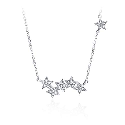 OMING Necklace Silver Star Necklace Sterling Silver Women's Clavicle Chain All-match Skirt Jewelry Chain Circumference 8.6 Inches (With Gift Box) Pendant Necklace