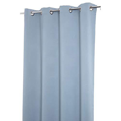 Rideau Occultant 140 x 240 cm à Oeillets Uni Bleu Gris