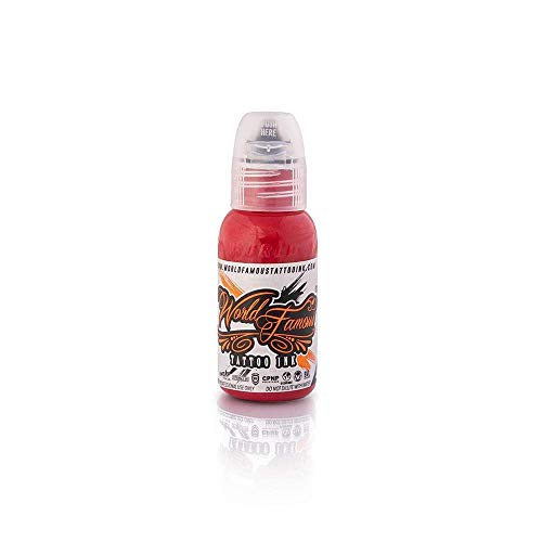World Famous Tattoo Ink – Vegan-Friendly Professional Tattooing Inks – Poison Dart Red, 1 Ounce