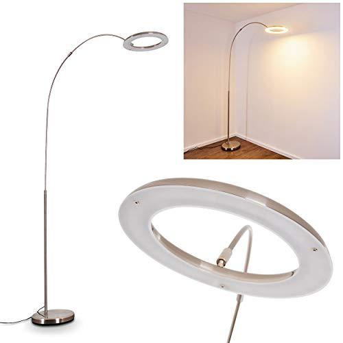 LED Stehlampe Fenioux aus Metall in Nickel-matt, Stehleuchte mit stufenlosem Dimmer, 19 Watt, 1800 Lumen, 3000 Kelvin (warmweiß), Bodenlampe mit max. 204 cm Höhe (verstellbar)