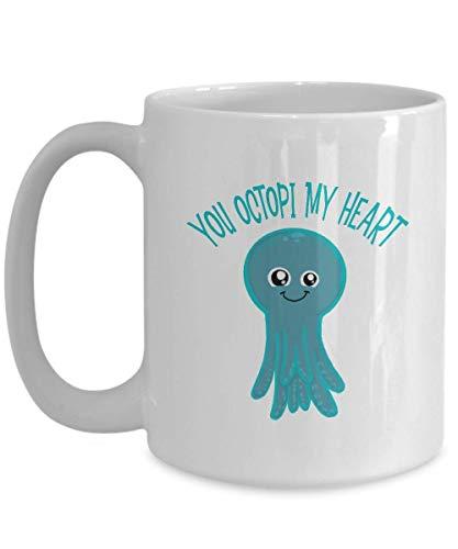 DKISEE Octopus Tasse, Octopus Kaffeetasse, lustige Octopus, Pärchen Tasse, blaue Oktopus, Love Octopus, Octopi My Heart 325 ml