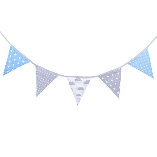 LULANDO Baby & Kids - Guirnalda de tela de algodón para decoración de habitación infantil, 1,25 m, 1,9 m o 3,25 m, color azul