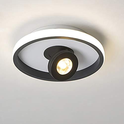 Lámpara de techo para salón, giratoria, 2 focos, blanco cálido, 3000 K, foco de techo para pasillo, dormitorio, foco de techo LED, lámpara giratoria, lámpara de pared interior (negro, redonda)