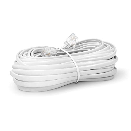Phone Line Cord 25 Feet - Modular Telephone Extension Cord 25 Feet - 2 Conductor (2 pin, 1 line) Cable - Works Great with FAX, AIO, and Other Machines - White