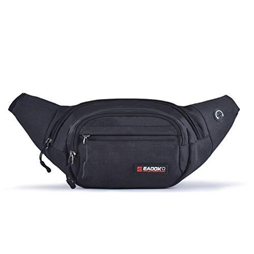 EAOOK Water Resistance Travel Belt,Big Fanny Pack for Outdoor Sport/Money Belt (BLACK)