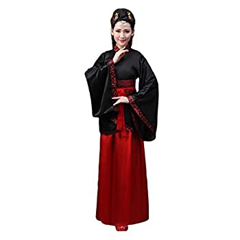 Xingsiyue Ancient Chinese Style Hanfu Dress Princess Chaise Costume for Women Black Red