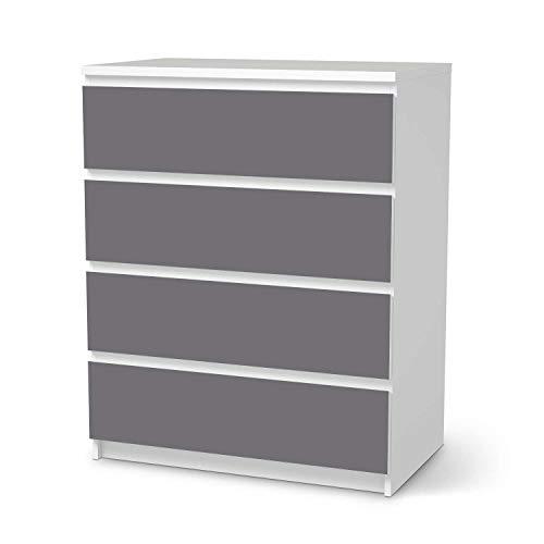 creatisto Wandtattoo Möbel passend für IKEA Malm Kommode 4 Schubladen I Möbelaufkleber - Möbel-Tattoo Sticker Aufkleber I Wohnen und Dekorieren für Wohnzimmer und Schlafzimmer - Design: Grau Light