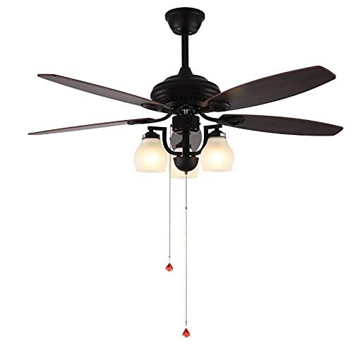 Fetcoi Lámpara de ventilador de techo de 52 pulgadas con mando a distancia de 3 marchas, luces prémium de 5 aspas, decoración para el ventilador de techo de la sala de estar