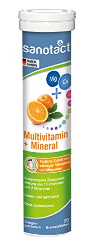 sanotact Multivitamin + Mineralstoffe Brausetabletten, Orangen Geschmack, Nahrungsergänzungsmittel mit 10 Vitaminen und 2 Mineralstoffen, nur 1x täglich, 20 Stück