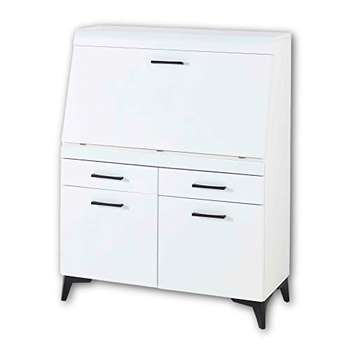 SECRET Sekretär Schreibtisch Kommode in Weiß matt - platzsparender Computertisch Schrank mit Schubladen - 98 x 124 x 42 cm (B/H/T)